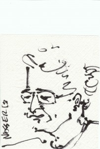 Sohrab drawn on a napkin by Nasser @ Bossa, August 11, 2013